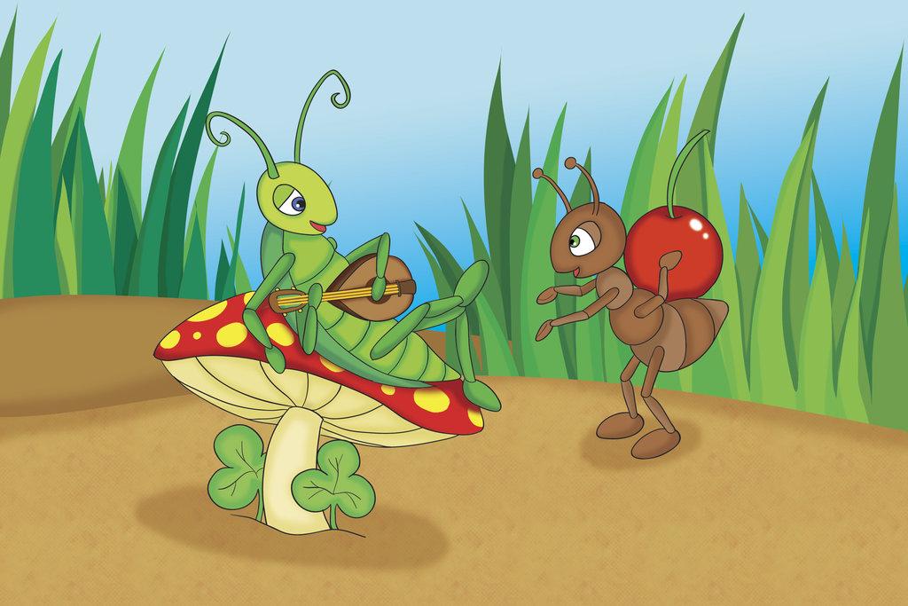 Fábula de La cigarra y la hormiga para niños